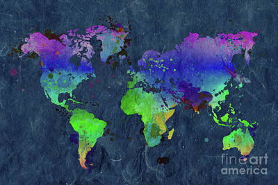 Creation Painting - Watercolor World Map Blue by Delphimages Photo Creations