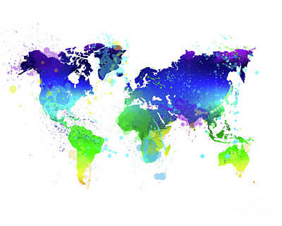 Unusual Painting - Watercolor World Map by Delphimages Photo Creations