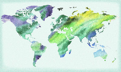 Painting - Watercolor World Map by Irina Sztukowski