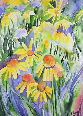 Nederland Painting - Watercolor - Yellow Rocky Mountain Wildflowers by Cascade Colors