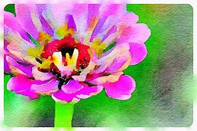 Flo Painting - Watercolor Zinnia by Judy Bernier