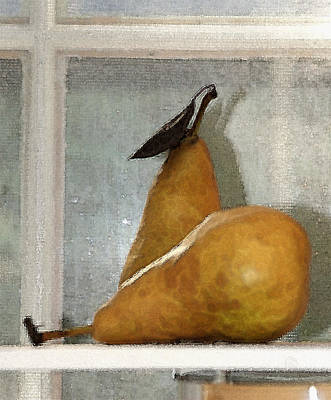 Photograph - Watercolored Pears by Margie Avellino