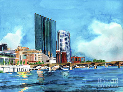 Painting - Watercolors Grand Rapids, Michigan, Grand River, Amway Grand, Devos Hall by LeAnne Sowa