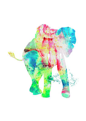 Painting - Watercolour Elephant by MelOn Design