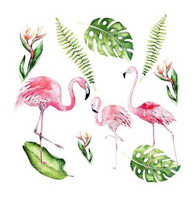 Art Print featuring the painting Watercolour Flamingo Family by Georgeta Blanaru