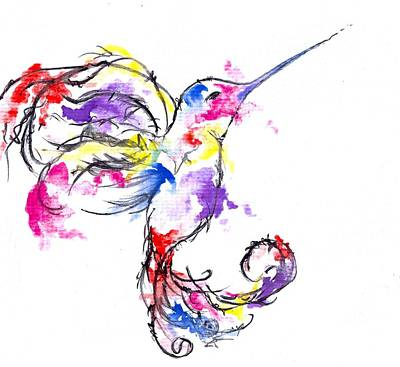 Painting - Watercolour Hummingbird by Perggals - Stacey Turner