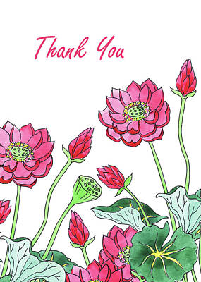 Lilies Royalty-Free and Rights-Managed Images - Watercolour Lotus Flower Thank You Card by Irina Sztukowski