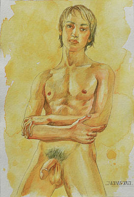 Painting - Watercolour Male Nude #180516 by Hongtao Huang