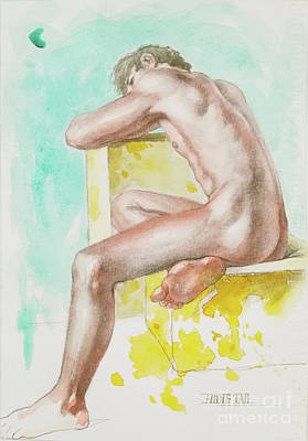 Painting - Watercolour Male Nude On Paper#17911 by Hongtao Huang