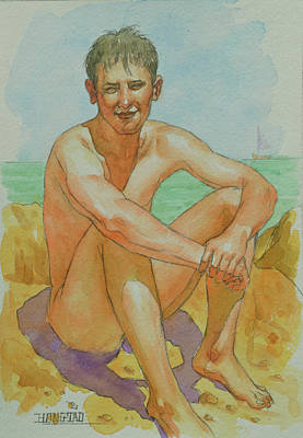 Painting - Watercolour Male Nude -seaside #18066 by Hongtao Huang
