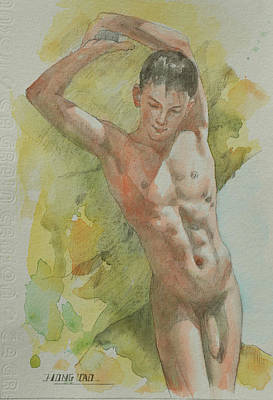 Painting - Watercolour Naked Man #1805161 by Hongtao Huang