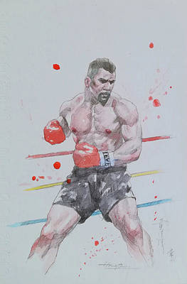 Painting - Watercolour Painting Boxing #18219 by Hongtao Huang