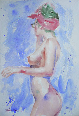 Drawing - Watercolour Painting Female Nude Girl #17331 by Hongtao Huang