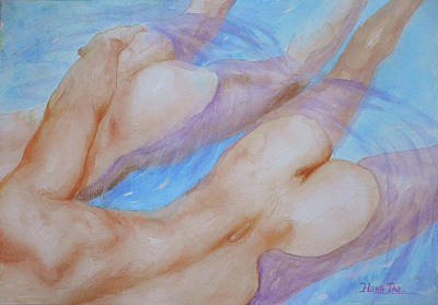Painting - Watercolour Painting Gay Interest Men In Swimming Pool #16-12-21 by Hongtao Huang