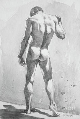 Painting - Watercolour Painting Male Nude #17931 by Hongtao Huang