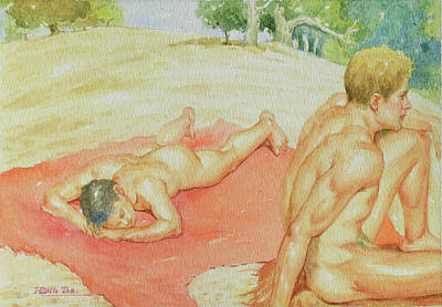 Painting - Watercolour Painting Male Nude #180529 by Hongtao Huang