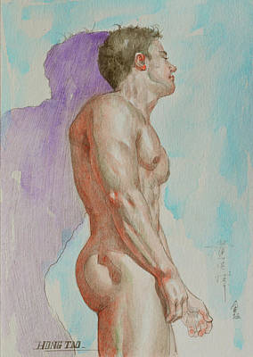 Painting - Watercolour Painting Male Nude By Wall #17104 by Hongtao Huang