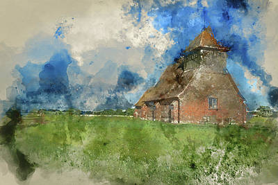 Marshes. Brooks Photograph - Watercolour Painting Of Ancient Medieval Church Landscape Agains by Matthew Gibson