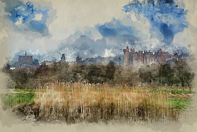 Arundel Castle Photograph - Watercolour Painting Of Arundel Castle Morning Landscape Viewed  by Matthew Gibson