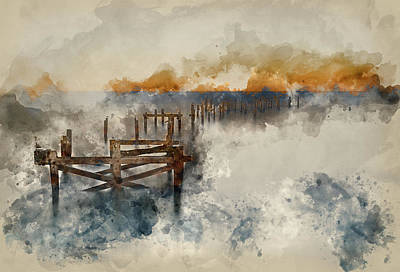 Water Filter Photograph - Watercolour Painting Of Beautiful Calming Long Exposure Landscape Of Ruined Pier At Sunset by Matthew Gibson
