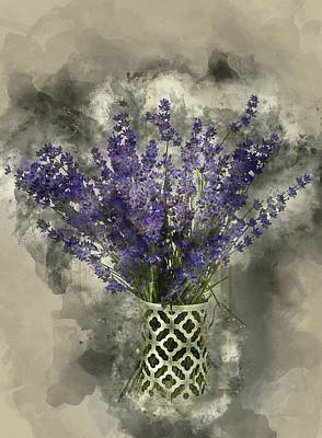 Watercolour Painting Of Beautiful Fragrant Lavender Bunch In Rus Art Print by Matthew Gibson