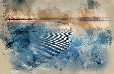 Watercolour Painting Of Beautiful Low Tide Beach Vibrant Sunrise Art Print by Matthew Gibson