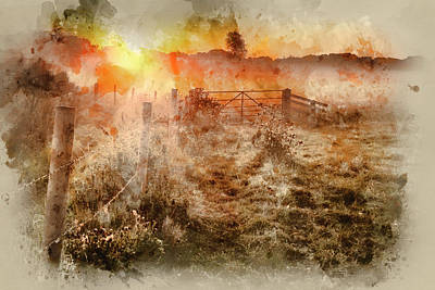 Gate Watercolor Photograph - Watercolour Painting Of Beautiful Sunrise Landscape Over Foggy English Countryside With Glowing Sun by Matthew Gibson