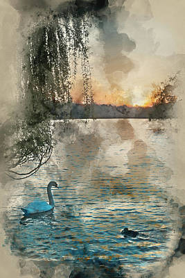 Willow Lake Photograph - Watercolour Painting Of Beautiful Vibrant Spring Sunrise Over C by Matthew Gibson