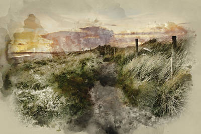 Water Filter Photograph - Watercolour Painting Of Blue Sky Summer Beach Sunset Landscape by Matthew Gibson