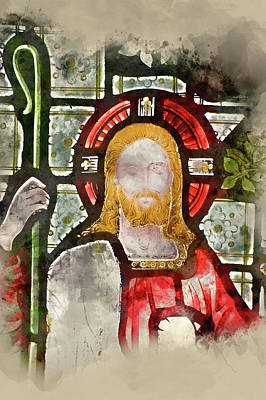 Watercolour Painting Of Detail Of Stained Glass Religious Window Art Print by Matthew Gibson