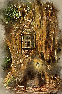 Miniature Effect Photograph - Watercolour Painting Of Fantasy Fairytale Miniature House In Tre by Matthew Gibson