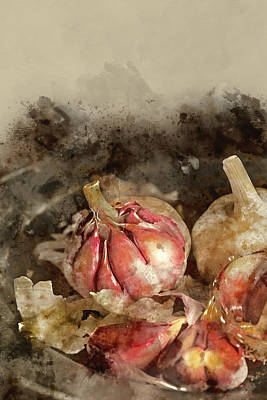 Watercolour Painting Of Fresh Garlic Cloves In Moody Natural Lig Art Print by Matthew Gibson