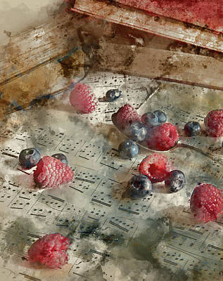 Old Sheet Music Photograph - Watercolour Painting Of Fruit In Vintage Table Setting With Antique Paraphenalia With Ad by Matthew Gibson