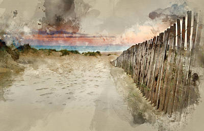 Water Filter Photograph - Watercolour Painting Of Grassy Sand Dunes Landscape At Sunrise by Matthew Gibson