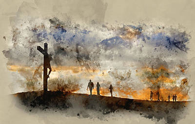 Jesus Christ Watercolor Photograph - Watercolour Painting Of Jesus Christ Crucifixion On Good Friday  by Matthew Gibson