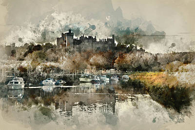 Arundel Castle Photograph - Watercolour Painting Of Landscape Image Of Old Medieval Castle V by Matthew Gibson