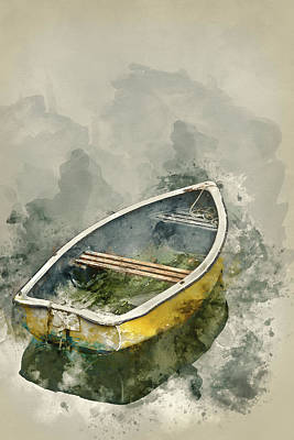 Water Filter Photograph - Watercolour Painting Of Neglected Old Rowing Boat On Calm Sea Wa by Matthew Gibson