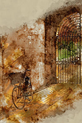 Gate Watercolor Photograph - Watercolour Painting Of Old Bicycle In Cambridge University Campus by Matthew Gibson