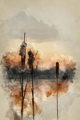 Water Filter Photograph - Watercolour Painting Of Stunning Crisp Winter Morning Over Froze by Matthew Gibson