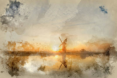 Architcture Photograph - Watercolour Painting Of Stunning Landscape Of Windmill And River by Matthew Gibson