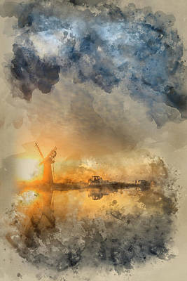 Architcture Photograph - Watercolour Painting Of Stunnnig Landscape Of Windmill And River At Sunrise On Summer Morning by Matthew Gibson
