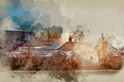 Coastguard Cottages Photograph - Watercolour Painting Of Sunrise Over Coastguard Cottages At Seaf by Matthew Gibson