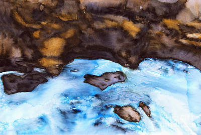 Photograph -  Water Flowing Over Rocks by Tara Thelen