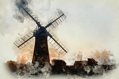 Architcture Photograph - Watercolour Painting Of Windmill In Stunning Landscape On Beauti by Matthew Gibson