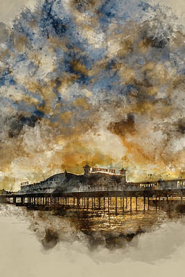 Water Filter Photograph - Watercolour Painting Of Winter Sunset Over Brighton Pier On South Coast. by Matthew Gibson