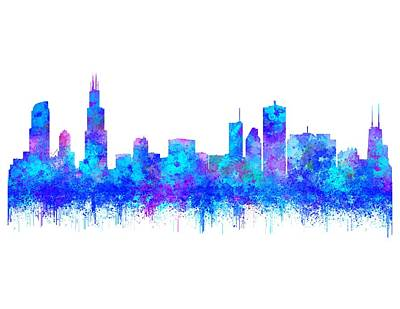 Art Print featuring the painting Watercolour Splashes And Dripping Effect Chicago Skyline by Georgeta Blanaru