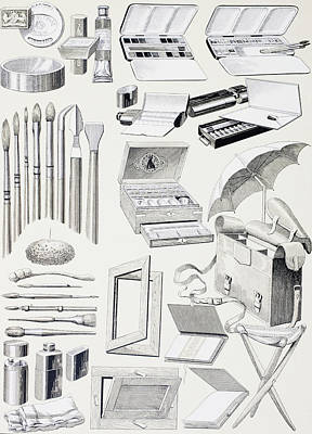 Watercolour Tools And Supplies. From Art Print by Vintage Design Pics