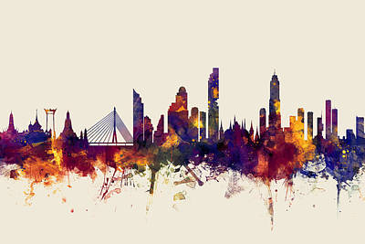 Thailand Digital Art - watercolour, watercolor, urban,  Bangkok, Bangkok skyline, bangkok cityscape, city skyline, thailand by Michael Tompsett