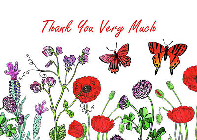 Painting - Watercolour Wildflowers Thank You Card Design by Irina Sztukowski