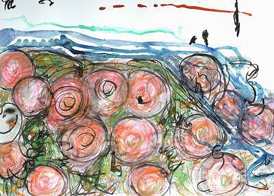 Abstract Painting - Watered Roses  by Heidi Capitaine